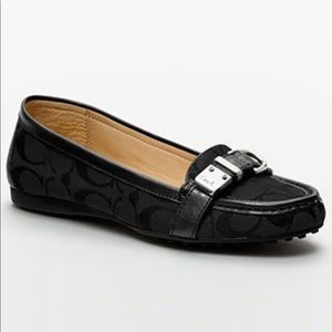 Coach Flores loafer black size 7 silver hardware
